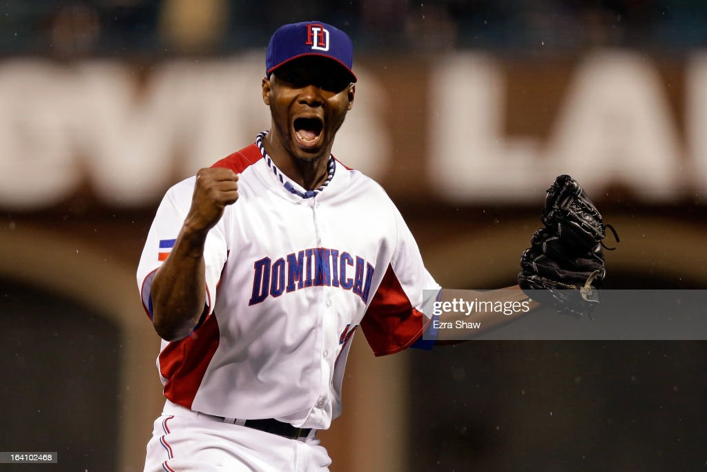 Samuel Deduno #21 of the Dominican Republic reacts after a strike out to end the fifth inning against Puerto Rico during the Championship Round of the 2013 World Baseball Classic at AT&T Park on March 19, 2013 in San Francisco, California.