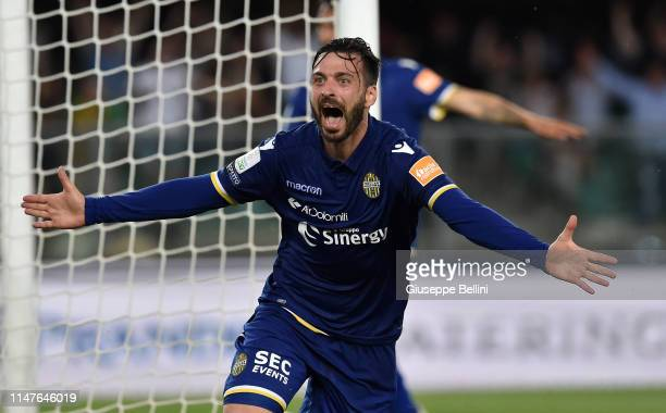 Samuel Di Carmine of Hellas Verona celebrates after scoring goal 2-0 during the Serie B Playoff Final second leg match between Hellas Verona and AS...