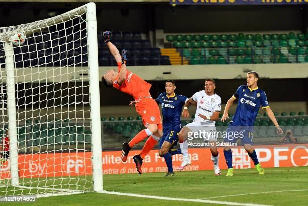 Samuel Di Carmine of Hellas Verona scores the opening goal during the Serie A match between Hellas Verona and Cagliari Calcio at Stadio Marcantonio...