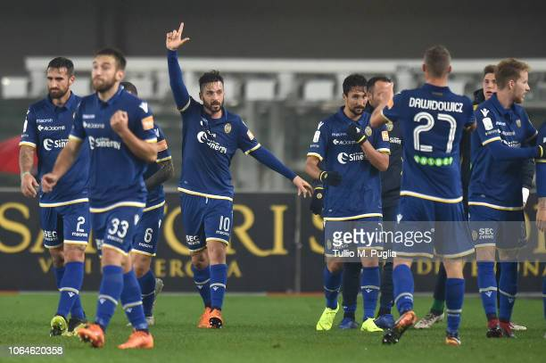 Samuel Di Carmine of Hellas Vertona celebrates after scoring the opening goal during the Serie b match between Hellas Verona and US Citta di Palermo...