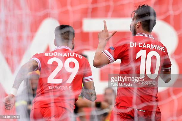 Samuel Di Carmine of Perugia celebrates after scoring his second goal during the Serie B match between AC Perugia and AS Cittadella at Stadio Renato...