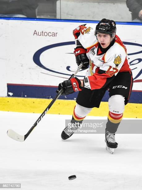 Samuel Dickner of the BaieComeau Drakkar plays the puck against the BlainvilleBoisbriand Armada during the QMJHL game at Centre d'Excellence Sports...