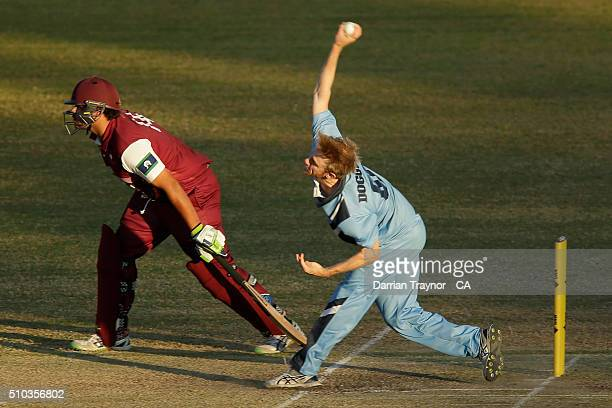 Samuel Doggett of New South Wales bowls during the National Indigenous Cricket Championships Mens Final on February 15 2016 in Alice Springs Australia