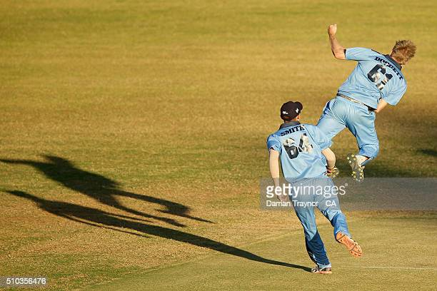 Samuel Doggett of New South Wales celebrates a wicket during the National Indigenous Cricket Championships Mens Final on February 15 2016 in Alice...