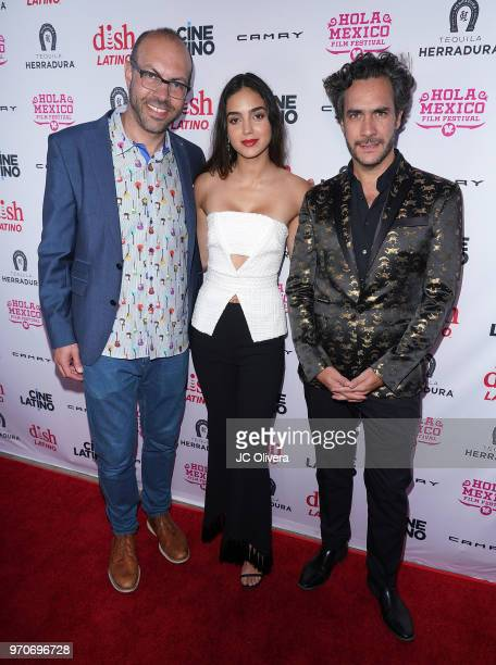 Samuel Douek Hola Mexico festival founder/director actdor Melissa Barrera and director Andres Ibanez Diaz Infante attend The HOLA Mexico Film...