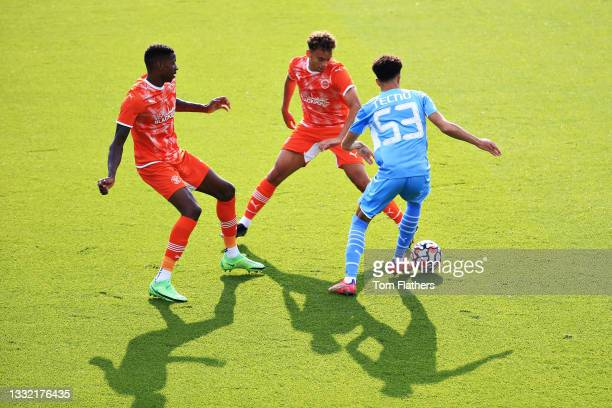 Samuel Edozie of Manchester City runs with the ball during the pre-season friendly match between Manchester City and Blackpool at Manchester City...