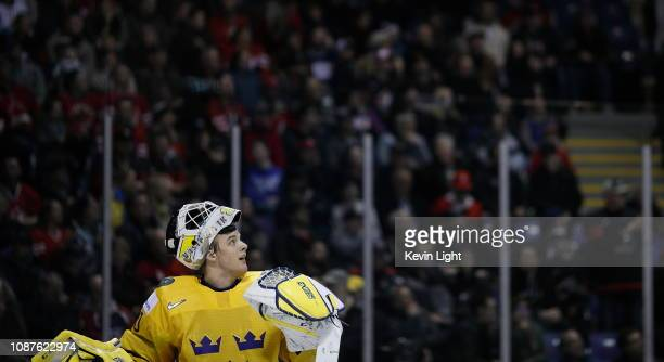 Samuel Ersson of Sweden versus Finland at the IIHF World Junior Championships at the SaveonFoods Memorial Centre on December 26 2018 in Victoria...