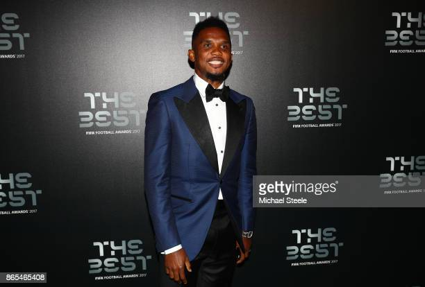 Samuel Eto arrives for The Best FIFA Football Awards Green Carpet Arrivals on October 23 2017 in London England