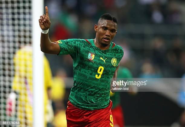 Samuel Eto Jubel Freude Emotion nach Tor zum 01 Deutschland Kamerun Nationalmannschaft DFB Laenderspiel Testspiel Sport Fußball Fussball bORUSSIApARK...