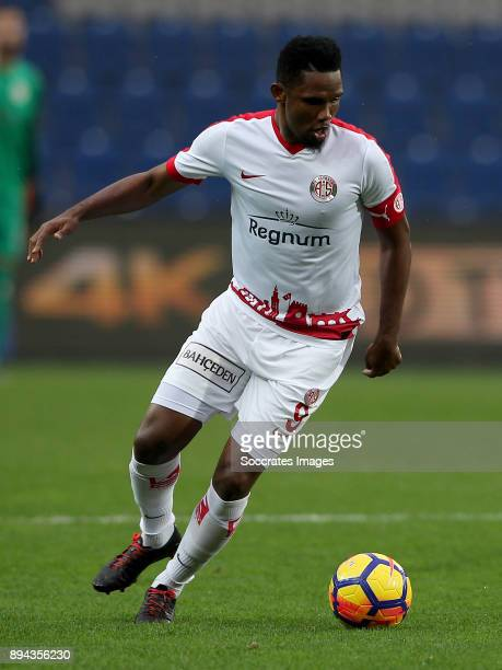 Samuel Eto o of Antalyaspor during the Turkish Super lig match between Istanbul Basaksehir v Antalyaspor at the Fatih Terim Stadium on December 17...