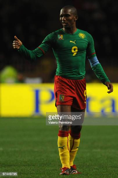 Samuel Eto o of Cameroon gestures during the International Friendly match between Italy and Cameroon at Louis II Stadium on March 3, 2010 in Monaco,...