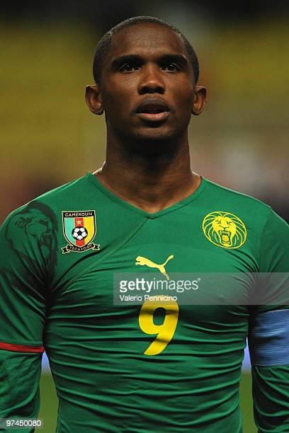 Samuel Eto o of Cameroon looks on prior to the International Friendly match between Italy and Cameroon at Louis II Stadium on March 3 2010 in Monaco...