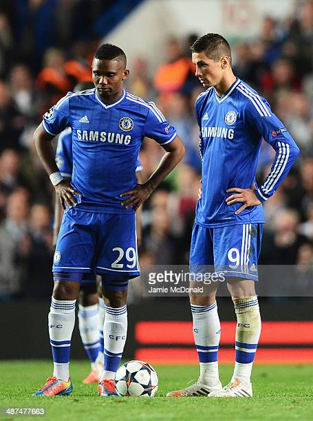 Samuel Eto'o and Fernando Torres of Chelsea look dejected after the goal by Diego Costa of Club Atletico de Madrid during the UEFA Champions League...