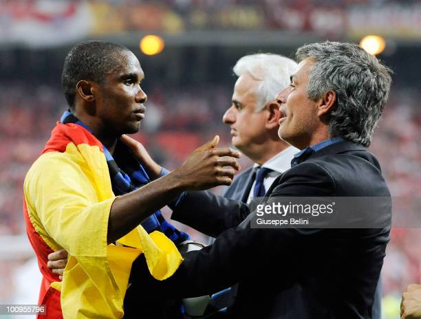 Samuel Eto'o and Jose' Mourinho head coach of Inter Milan celebrate the victory after the UEFA Champions League Final match between FC Bayern...