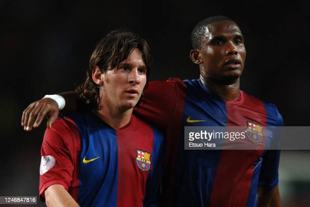 Samuel Eto'o and Lionel Messi of Barcelona are seen during the UEFA Super Cup match between Barcelona and Sevilla at the Stade Louis II on August 25,...