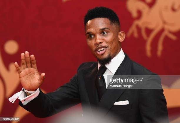Samuel Eto'o arrives prior to the Final Draw for the 2018 FIFA World Cup Russia at the State Kremlin Palace on December 1 2017 in Moscow Russia