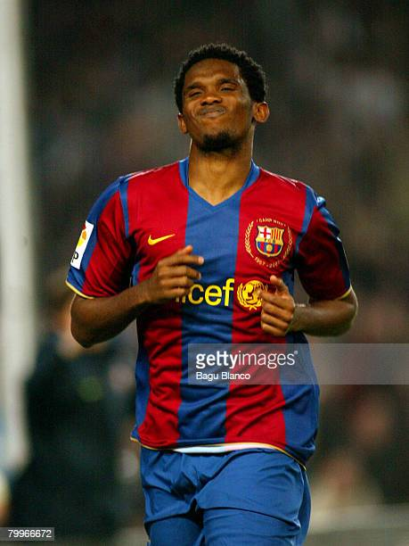 Samuel Eto'o celebrates his goal during the La Liga match between FC Barcelona and Levante at the Camp Nou stadium on February 24 2008 in Barcelona...