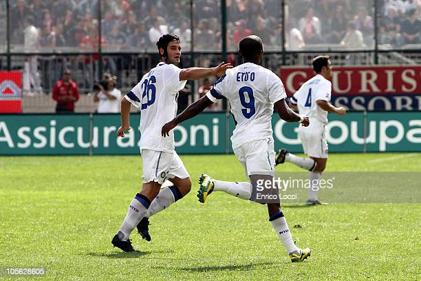 Samuel Eto'o celebrates the goal during the Serie A match between Cagliari Calcio and FC Internazionale Milano at Stadio Sant'Elia on October 17 2010...