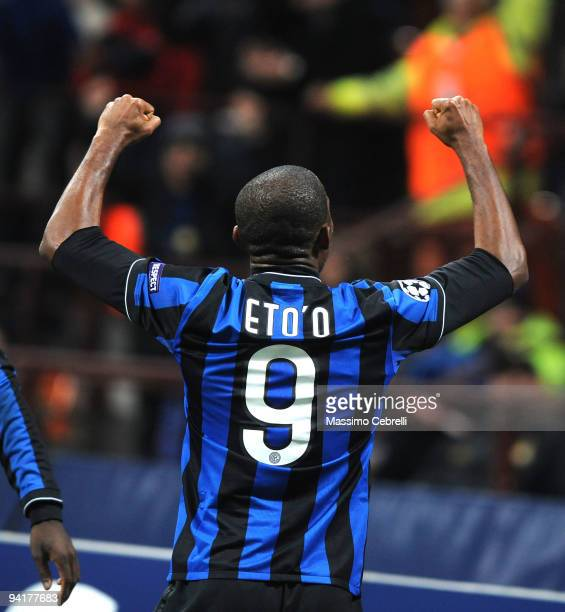 Samuel Eto'o Fils of FC Inter Milan celebrates scoring the opening goal during the UEFA Champions League Group F match between FC Inter Milan and FC...
