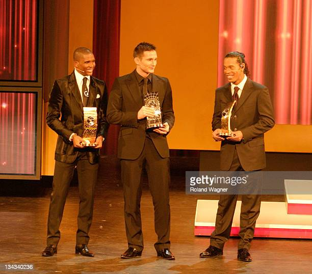 Samuel Eto'o Frank Lampard and Ronaldinho during FIFA World Player Gala 2005 Awards Ceremony at Opera House in Zurich Switzerland