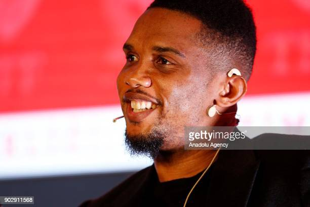 Samuel Eto'o of Antalyaspor participates in a panel titled 'Turkish and European Coach Regard as Football Player' within the Football Industry Forum...