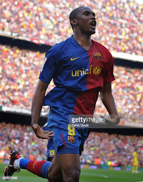 Samuel Eto'o of Barcelona celebrates after scoring his team's second goal during the La Liga match between Barcelona and Villarreal at the Nou Camp...