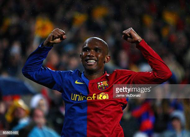 Samuel Eto'o of Barcelona celebrates his goal during the UEFA Champions League quarter final first leg match between FC Barcelona and FC Bayern...