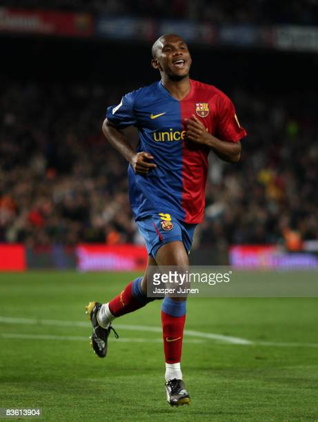 Samuel Eto'o of Barcelona celebrates scoring the opening goal during the La Liga match between Barcelona and Real Valladolid at the Camp Nou Stadium...