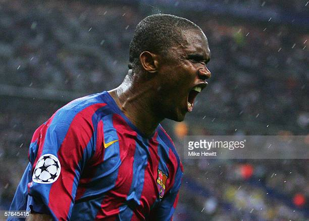 Samuel Eto'o of Barcelona celebrates scoring their first goal during the UEFA Champions League Final between Arsenal and Barcelona at the Stade de...
