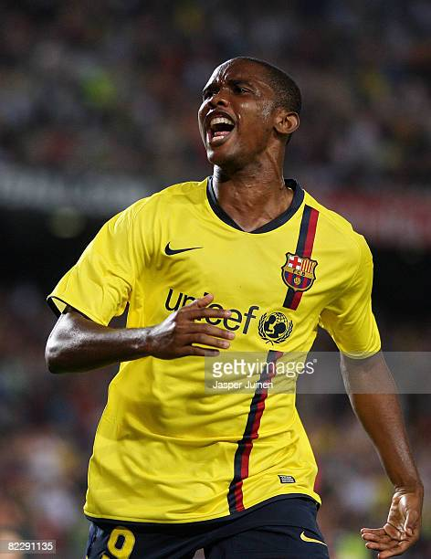 Samuel Eto'o of Barcelona celebrates the opening goal during the UEFA Champions League third Qualifying Round first leg match between Barcelona and...