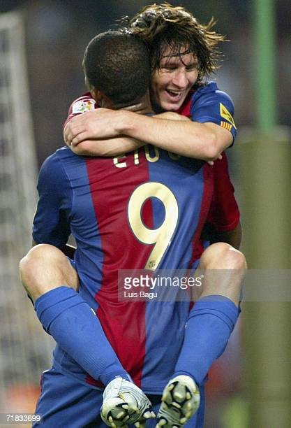Samuel Eto'o of Barcelona cellebrates Leo Messi's goal during the La Liga match between FC Barcelona and Osasuna played at the Camp Nou stadium on...
