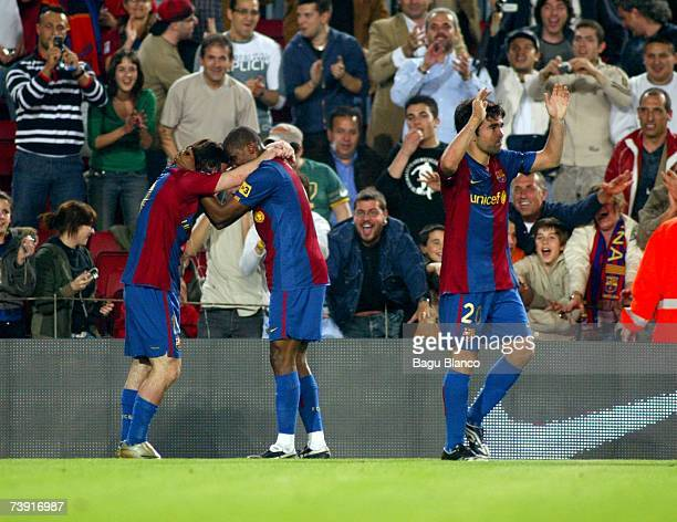 Samuel Etoo of Barcelona congratules Leo Messi after his first goal during the match against Getafe of Copa del Rey in action on April 18 played at...