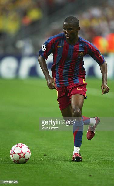 Samuel Eto'o of Barcelona in action during the UEFA Champions League Final between Arsenal and Barcelona at the Stade de France on May 17 2006 in...
