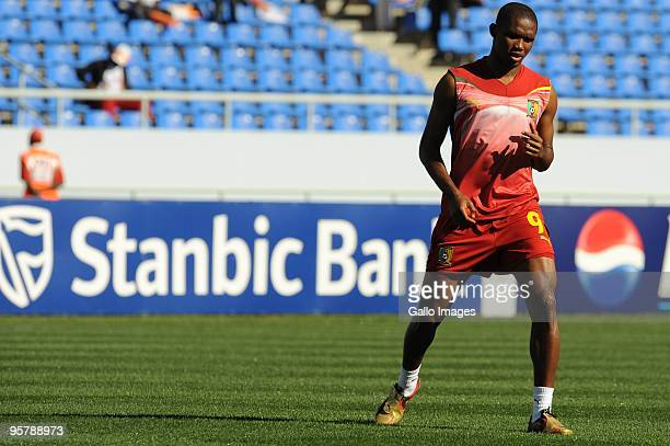 Samuel Eto'o of Cameroon ahead of the Africa Cup of Nations match between Cameroon and Gabon from the Alto da Chela Stadium on January 13 2010 in...