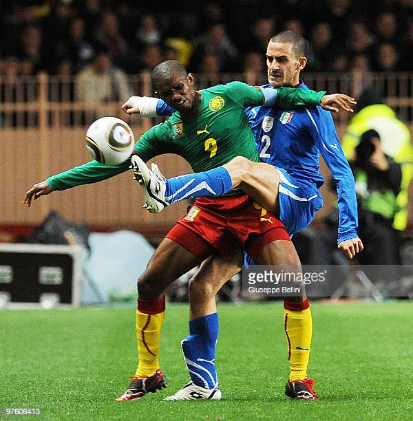 Samuel Eto'o of Cameroon and Leonardo Bonucci of Italy in action during the International Friendly match between Italy and Cameroon at Louis II...