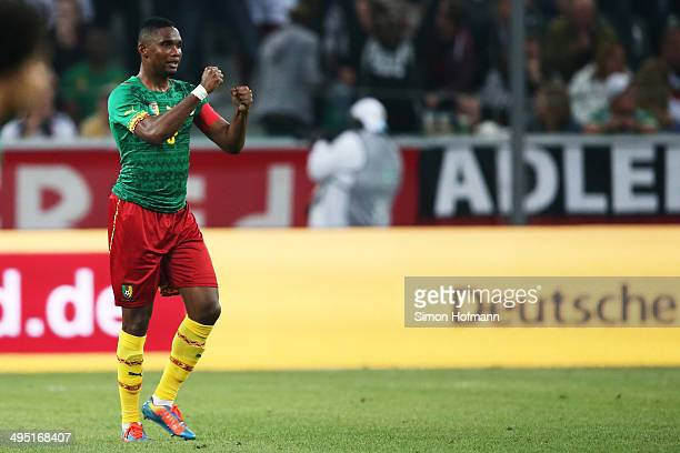 Samuel Eto'o of Cameroon celebrates his team's first goal during the International Friendly match between Germany and Cameroon at Borussia Park...
