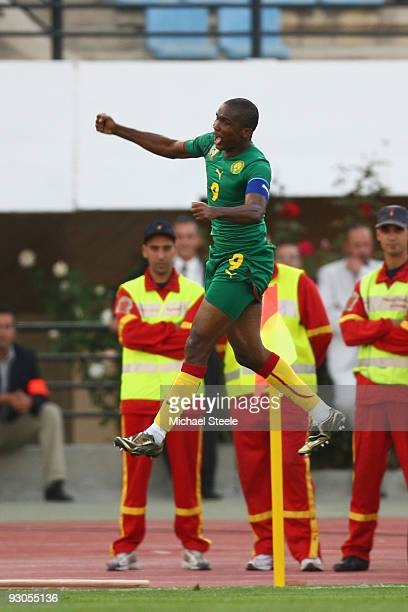 Samuel Eto'o of Cameroon celebrates scoring his sides second goal during the Morocco v Cameroon FIFA2010 World Cup Group A qualifying match at the...