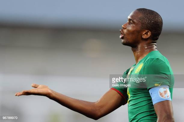 Samuel Eto'o of Cameroon during the Africa Cup of Nations match between Cameroon and Gabon from the Alto da Chela Stadium on January 13 2010 in...