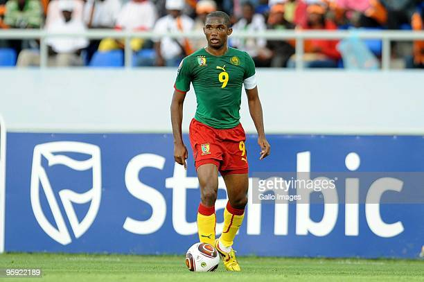 Samuel Eto'o of Cameroon during the Africa Cup of Nations match between Cameroon and Tunisia from the Alto da Chela Stadium on January 21, 2010 in...