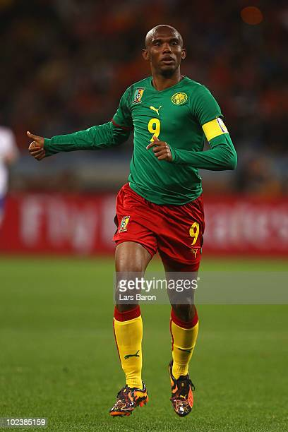Samuel Eto'o of Cameroon gestures during the 2010 FIFA World Cup South Africa Group E match between Cameroon and Netherlands at Green Point Stadium...