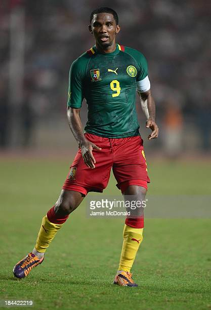 Samuel Etoo of Cameroon in action during the FIFA 2014 World Cup qualifier at the Stade Olympique de Radès on October 13, 2013 in Rades, Tunisia.