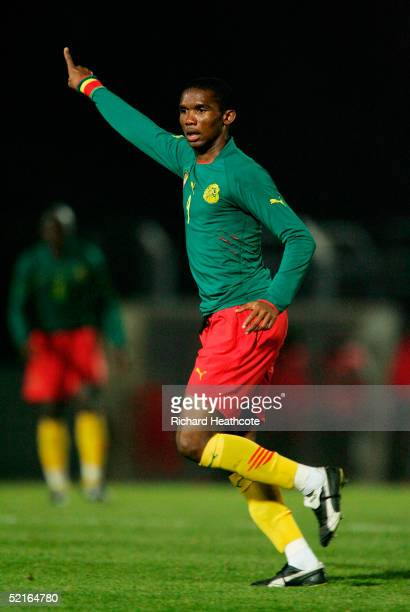 Samuel Eto'o of Cameroon in action during the International friendly match between Cameroon and Senegal held at Stade Dominique Duvauchelle on...