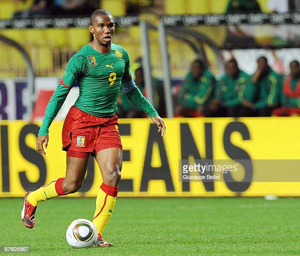 Samuel Eto'o of Cameroon in action during the International Friendly match between Italy and Cameroon at Louis II Stadium on March 3, 2010 in Monaco,...