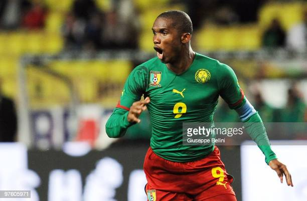 Samuel Eto'o of Cameroon in action during the International Friendly match between Italy and Cameroon at Louis II Stadium on March 3 2010 in Monaco...