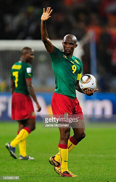 Samuel Eto'o of Cameroon is dejected after defeat and elimination from the tournament in the 2010 FIFA World Cup South Africa Group E match between...
