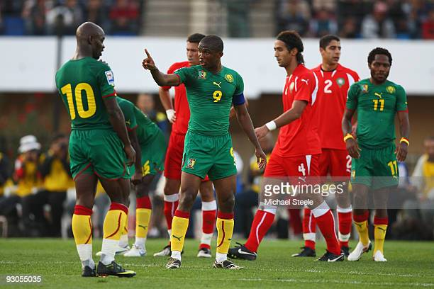 Samuel Eto'o of Cameroon makes a point during the Morocco v Cameroon FIFA2010 World Cup Group A qualifying match at the Complexe Sportif on November...