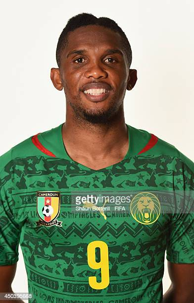 Samuel Eto'o of Cameroon poses during the official FIFA World Cup 2014 portrait session on June 9 2014 in Vitoria Brazil
