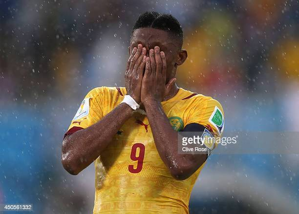 Samuel Eto'o of Cameroon reacts after a missed chance during the 2014 FIFA World Cup Brazil Group A match between Mexico and Cameroon at Estadio das...