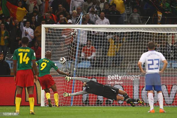 Samuel Eto'o of Cameroon scores a penalty kick past Maarten Stekelenburg of the Netherlands during the 2010 FIFA World Cup South Africa Group E match...