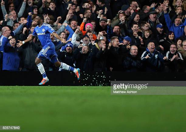 Samuel Eto'o of Chelsea celebrates after he scores his hattrick to make it 30